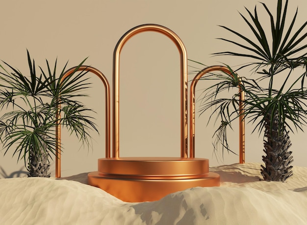 3d gold podium with rings and tropical in sand minimal mockup for product presentation