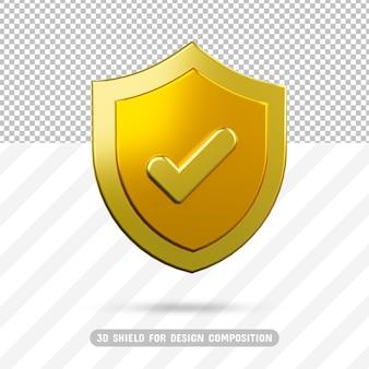 3d золотой щит в 3d рендеринге
