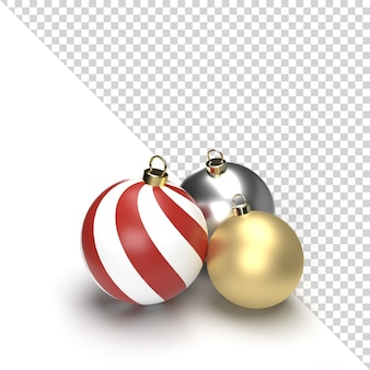 3d gold and silver christmas ball isolated rendering