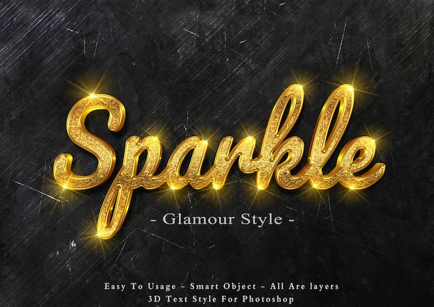 3d gold sparkle text style effect