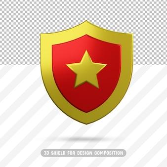 3d золотой звездный щит в 3d рендеринге