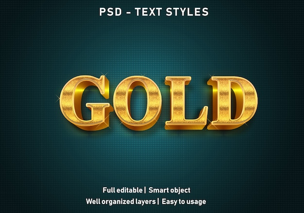3d gold text effects style