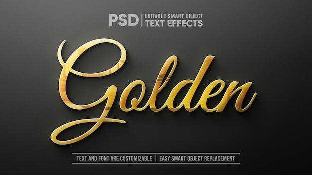3d золотой текст на белом мраморе редактируемый макет смарт-объекта