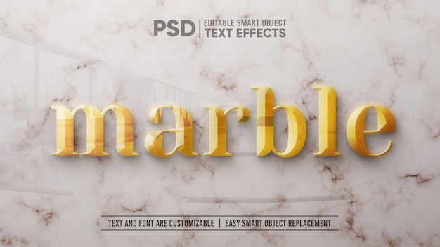 3d gold text on white marble editable smart object mockup