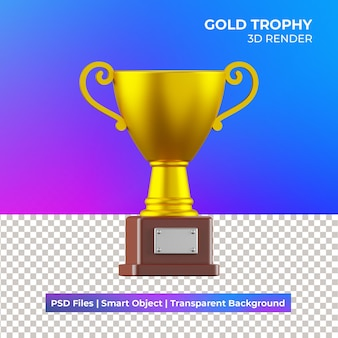 3d gold trophy illustration isolated