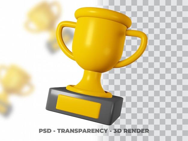 3d золотой трофей с моделированием прозрачности премиум psd