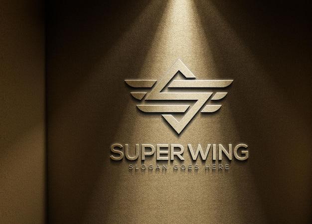 3d gold wall logo mockup template