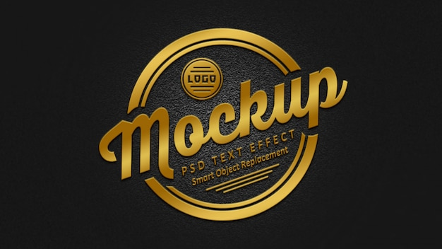 3d golden badge text effects mockup