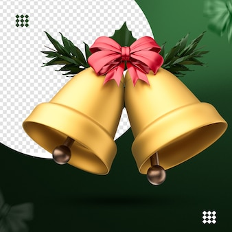 3d golden bells with red bow and tree branches