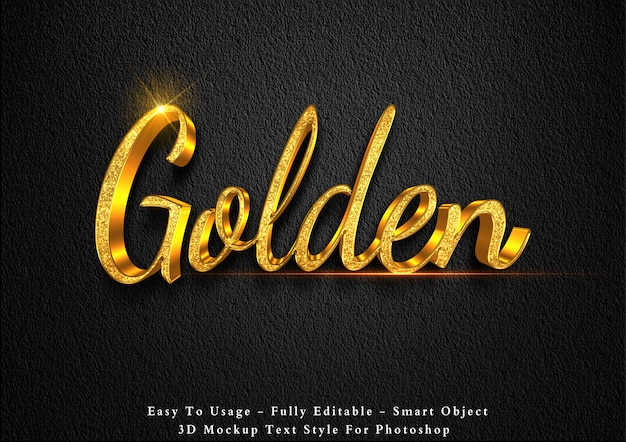3d golden glitter text effect template