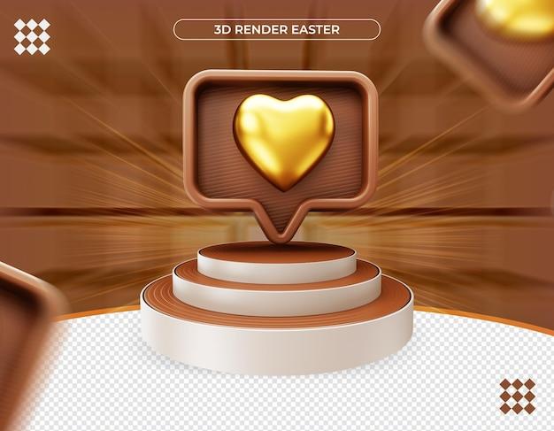 3d золотое сердце на значке уведомления
