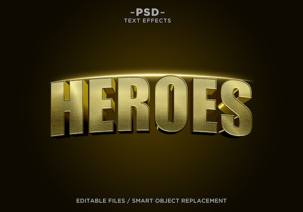3d golden heroes cinematic effect editable text