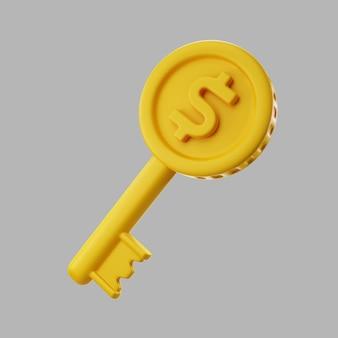Chiave d'oro 3d con moneta da un dollaro