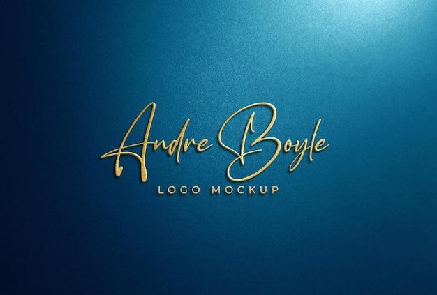 3d-макет золотого логотипа