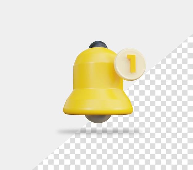 3d 황금 알림 벨 아이콘 버튼