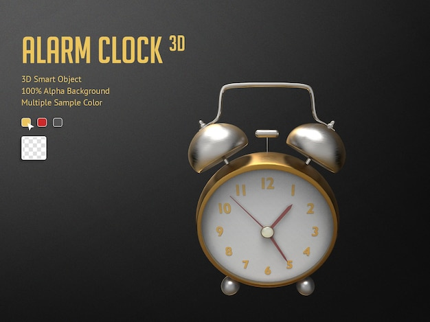 3d golden realistic alarm clock