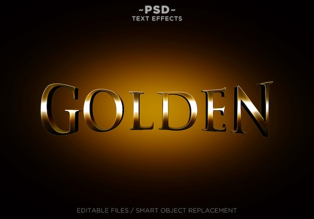 3d golden style effects editable text