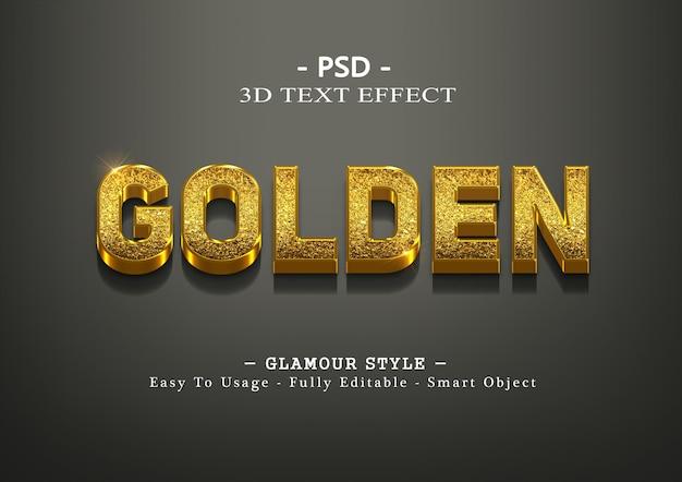 3d golden text style effect template