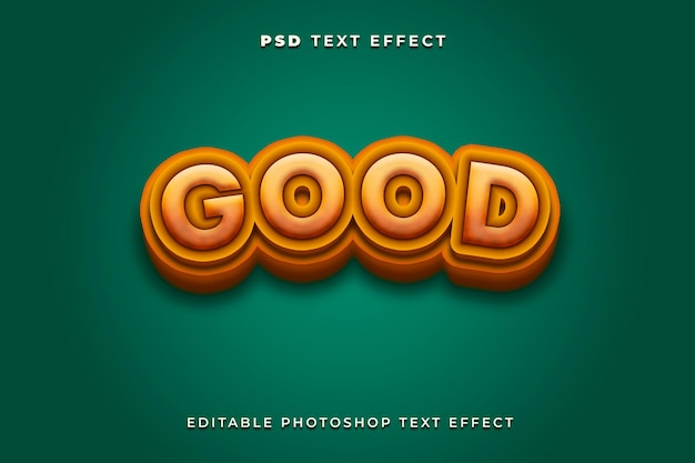3d good text effect template with green background