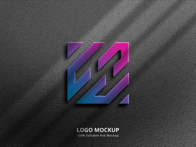 3d gradient logo mockup with shadow overlay