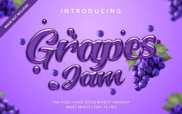 Шаблон эффекта стиля шрифта 3d grapes jam