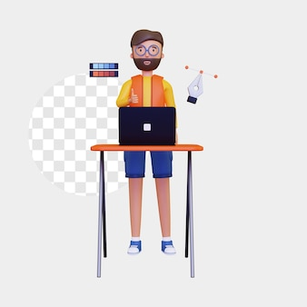 노트북과 펜 도구가 있는 3d 그래픽 디자이너