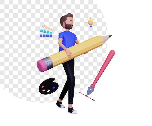 연필과 펜 도구 아이콘을 들고 있는 남성 캐릭터가 있는 3d 그래픽 디자이너