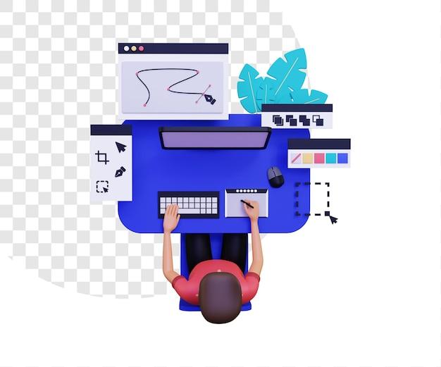 컴퓨터를 사용하는 남성 캐릭터가 있는 3d 그래픽 디자이너