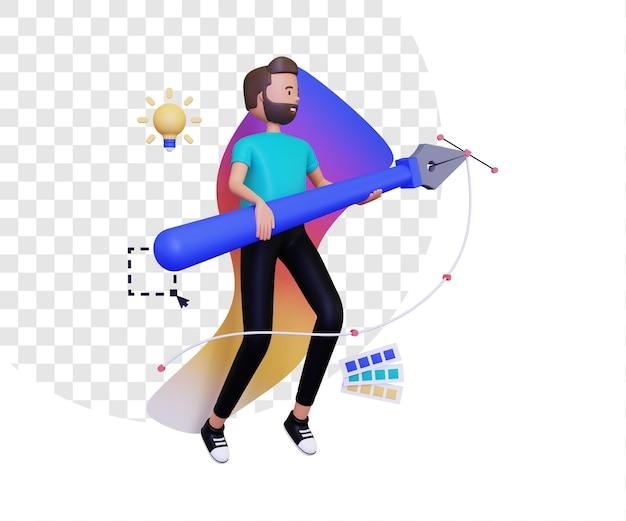 펜 도구를 들고 남성 캐릭터와 3d 그래픽 디자이너