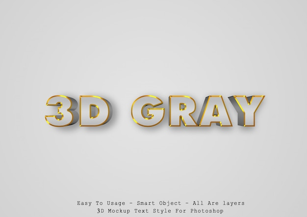 3d gray text style effect