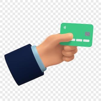 3d зеленая кредитная карта в руке пластиковая карта изолирована 3d иллюстрация