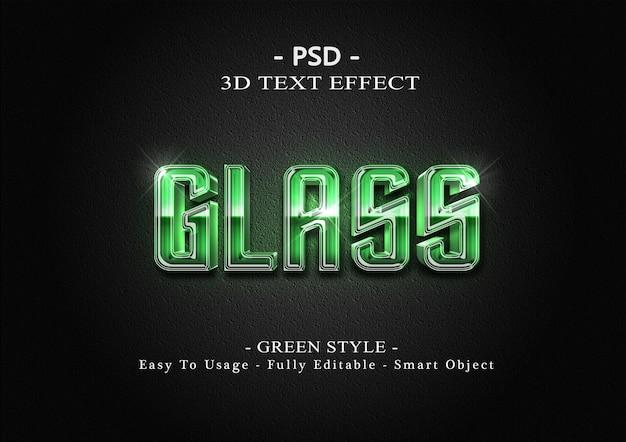 Шаблон эффекта стиля текста 3d зеленого стекла