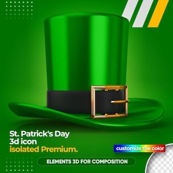 성 패트릭의 날에 대 한 3d 녹색 모자 렌더링