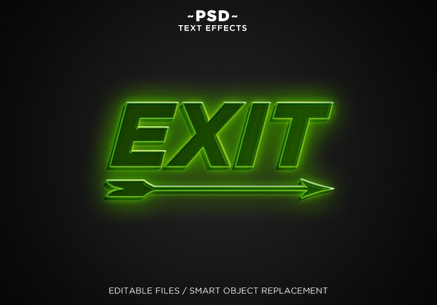 3d green light exit editable text effect
