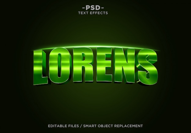 3d green lorens cinematic effect редактируемый текст