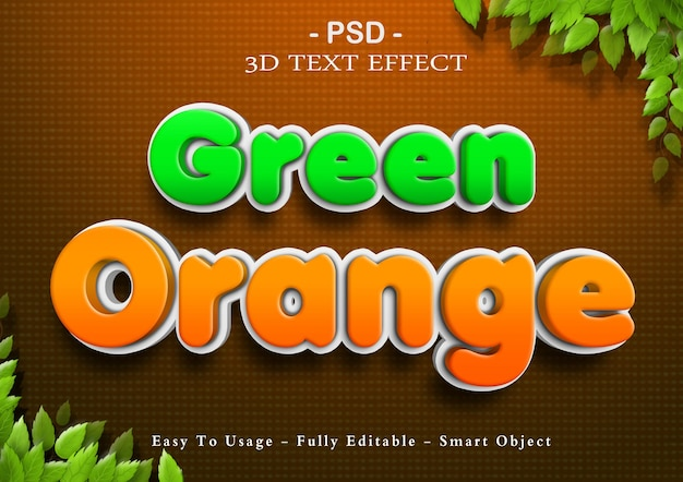 3d green and orange text effect