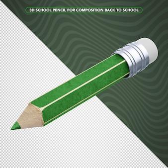 学校に戻るための3dグリーンペンシル