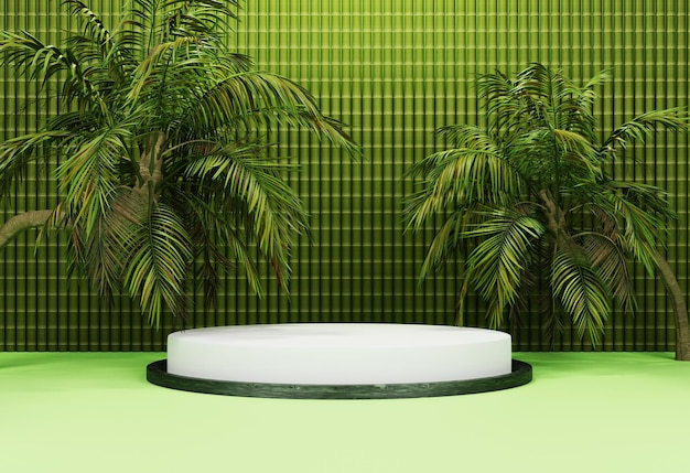 3d green podium with tropical trees and bamboo background for product presentation