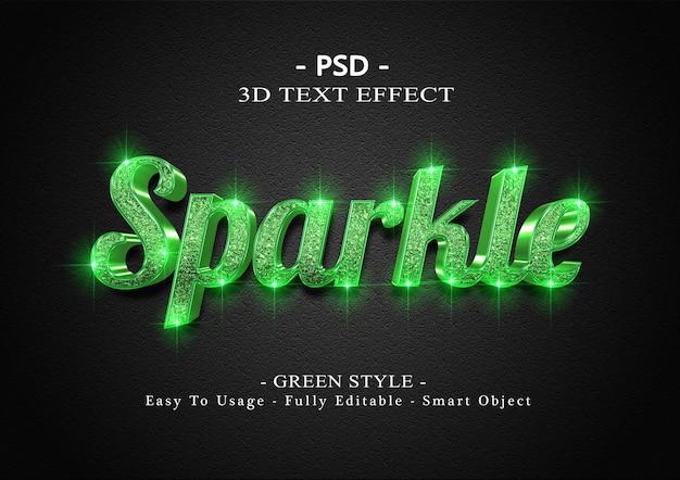 3d зеленый сверкающий текстовый эффект