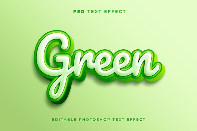 3d шаблон с эффектом зеленого текста