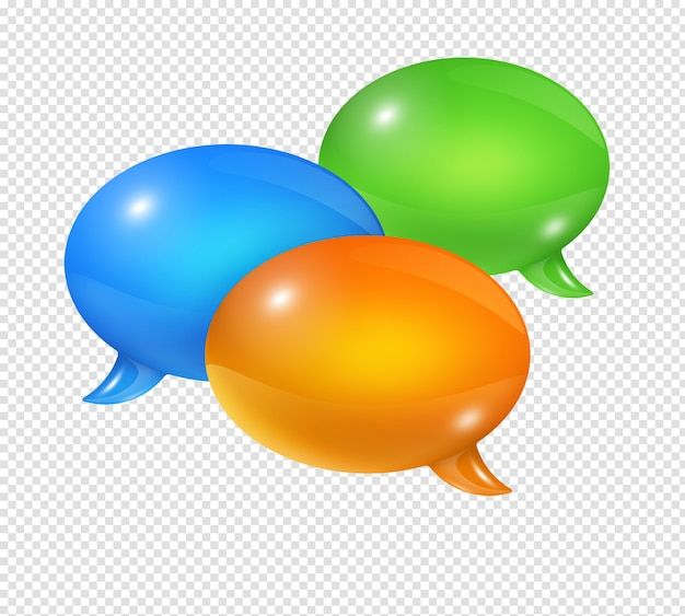 3d group of colored speech bubbles isolated