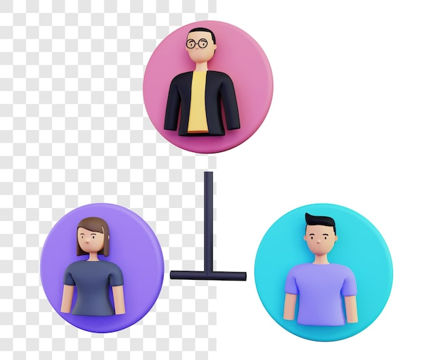 3d group illustration concept rendering isolated