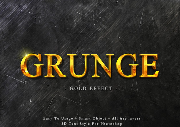 3d grunge gold text style effect