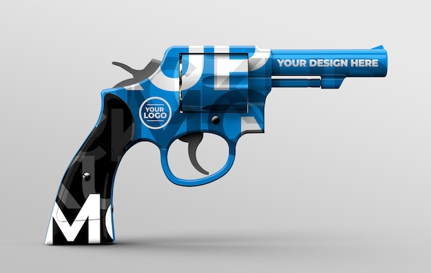 3d gun mockup template for branding and advertising presentations