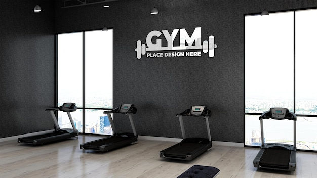 3d gym logo mockup in the fitness area with the black wall for athlete
