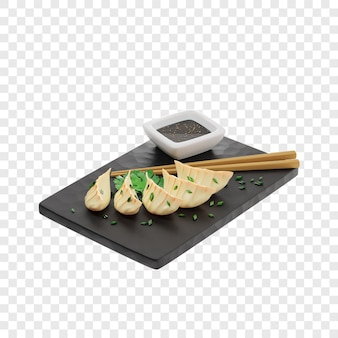 3d gyoza or fried dumplings sprinkled with onions on a black slate board next to chopsticks
