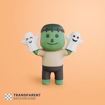 3d halloween cute character illustration
