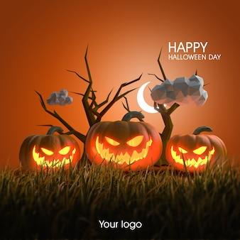 3d halloween poster design mockup