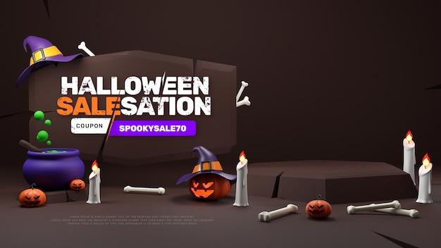 3d halloween promotion discount sale podium