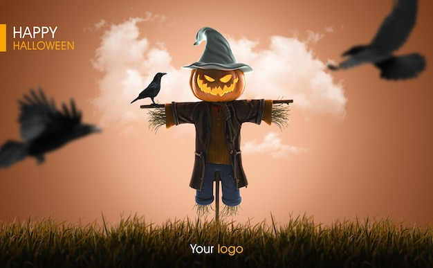 3d halloween scarecrow pumpkin mockup